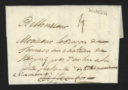 """Pr�philat�lie - lettre 1787 marque NAMUR + """"4"""" pour Steenfort biff� + manuscrit """"On le dit pr�sentement � Luxembourg"""""""