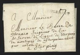 """Pr�philat�lie - lettre dat�e de Jauche 14 juillet 1789 (jour historique) + marque TIRLEMONT + """"7"""" pour Sterpign� """"par..."""