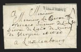 Pr�philat�lie - lettre du 26 octobre 1789 du cur� + marque TIRLEMONT pour Luxembourg - texte sur les Prussiens et les...