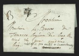 """Pr�philat�lie - lettre 1789 marque TIRLEMONT + """"4"""" biff� vers Vervox r�exp�di�e vers Luxembourg avec port """"3"""" - rare !!"""