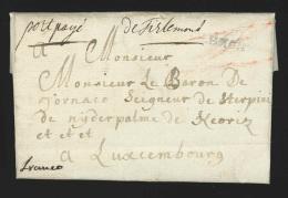 """Pr�philat�lie - lettre 1790 avec marque TIRLEMONT + manuscrit """"port pay�"""" + """"de Tirlemont"""" + FRANCO pour Luxembourg -..."""