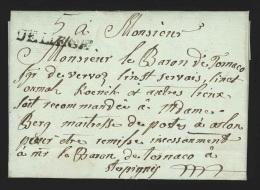 """Pr�philat�lie - lettre dat�e de Vervoz 1791 + marque """"DE LIEGE"""" pour Sterpigny """"soit recommand�e � Mme Berg Ma�tresse..."""