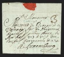"""Pr�philat�lie - lettre 1794 marque MARCHE + """"3"""" pour Luxembourg - texte int�ressant """"on dit que nos troupes … ..."""