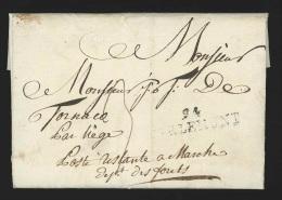 """Pr�philat�lie - lettre dat�e de Jodoigne 1804 marque 94/TIRLEMONT pour """"Poste restante � Marche / Dept des For�ts"""" - ..."""