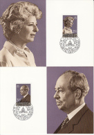8835- ROYAL FAMILY, PRINCE FRANCIS JOSEPH II AND PRINCESS GINA, MAXIMUM CARD, OBLIT FDC, 2X, 1983, LIECHTENSTEIN - Familles Royales