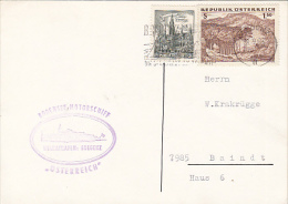 8909- VIENNA TOWN HALL, LANDSCAPE, STAMPS ON POSTCARD, SHIP POSTMARK, 1963, AUSTRIA - 1945-.... 2nd Republic