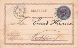 Schweden 1885 - 5 Ö Ganzsache Auf Firmen-Pk Gelaufen