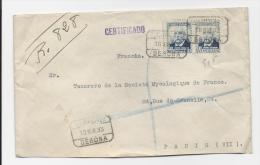 LETTRE RECOMMANDEE DE GERONE 1933 POUR PARIS FRANCE COVER - 1931-50 Lettres