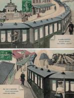 92 ASNIERES - Je Quitte Et Me Voici à Asnières - Lot 2 Cartes - Gare Fantaisie - Asnieres Sur Seine