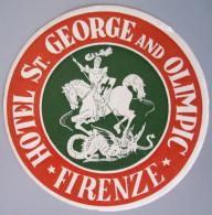 HOTEL ALBERGO PENSIONE MOTEL SANT GEORGE FIRENZE FLORENECE ITALIA ITALY DECAL STICKER LUGGAGE LABEL ETIQUETTE AUFKLEBER - Hotel Labels