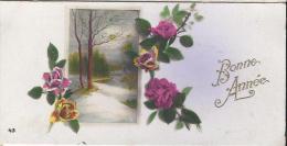 Carte De Voeux/Paysage De Neige Et Roses/circulée/ Vers 1930    CVE70 - Nouvel An