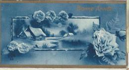 Carte De Voeux/Paysage De Neige Et Roses, Bordure Dorée/ Non Circulée/ Vers 1930 CVE72 - Neujahr