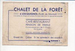 """Carte De Visite Publicitaire """"Café-Restaurant,Chalet De La Forêt """" à Locquignol (Forêt De Mormal) - Cartes De Visite"""