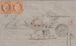 Lettre, N�38x2 Cachet Constantinople P.FR.U N�2 + Rouge AMB MARS