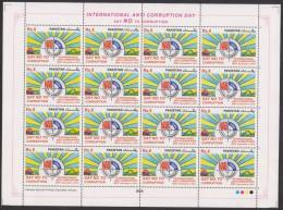 PAKISTAN 2014 MNH - International Anti Corruption Day, NAB National Accountability Bureau, Full Sheet Of 16 Stamps