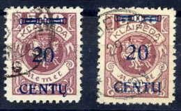 MEMEL (Lithuanian Occ) 1923 (20 Apr) 20c Types A & B Used.    Michel 171 A II And B I - Klaipeda