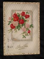 Bonne Fête Fleurs Ajout Velours Roses - Fêtes - Voeux