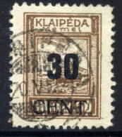 MEMEL (Lithuanian Occ) 1923 (June) 30 CENT  On 50 Mk Used.  Michel 194 - Klaipeda