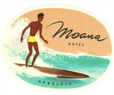 ETIQUETA DE HOTEL  -  HOTEL MOANA  - HONOLULU  -HAWAI - Hotel Labels