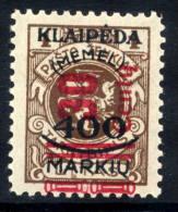 MEMEL (Lithuanian Occ) 1923 (Nov) 30 Centu Red Surch. On 400 Mk On 1 L. MNH / **.  Michel 232 - Klaipeda