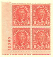 USA SC #641 MNH PB4  1927 9c Jefferson #19352, CV $22.50 - Plate Blocks & Sheetlets