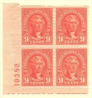 USA SC #641 MNH PB4  1927 9c Jefferson #19352, CV $17.50 - Plate Blocks & Sheetlets