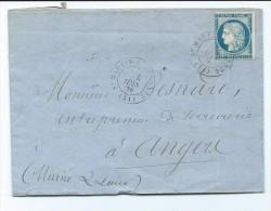 60C Sur  Lettre De  St Martin De Connée Pour Angers Cachet Convoyeur Brest à Paris 1876 - Marcofilia (sobres)