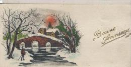 Carte De Voeux/Eglise & Pont Sous La Neige /circulée/Carte De Bonne Année Transformée  Bon Anniversaire/Vers 1930  CVE77 - Nouvel An