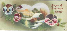 Carte De Voeux/Paysage De Neige Dans Coeur Avec Pensées/circulée//Vers 1930  CVE79 - Neujahr