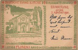 [DC5043] CARTOLINA - DEUTSCHE EVANG KIRCHE - FLORENZ - ERINNERUNG AN DEN - Old Postcard - Non Classificati