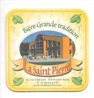 Sous-bock, Bière D´Alsace, La Saint Pierre. Fond Jaune. Photo De La Brasserie. - Sous-bocks