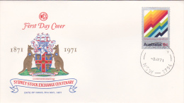 Australia 1971 Stock Exchange Wesley FDC Type A - FDC