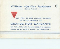 63 - Issoire - ** Section Football - Union Sportive Issoirienne ** - Carte Ancienne D´Invitation - 1949 - (8 X 12) - Issoire