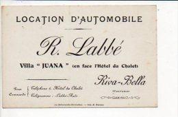 "Carte De Visite Publicitaire ""R. Labbé,Location D'Automobile "" à Riva Bella-Ouistreham - Cartoncini Da Visita"