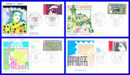 1830-1831-1832-1833 (Yvert) Sur 4 FDC (GF-PJ) - Arphila 75 L´oeil Le Chapiteau Graphisme Cérès - France 1975 - 1970-1979