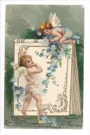 10813 - Jolie Carte Fantaisie Gaufrée Avec Dorures Anges Et Fleurs Myosotis - Natale