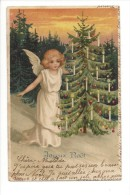 10814 - Jolie Carte Fantaisie Ange Et Sapin - Natale