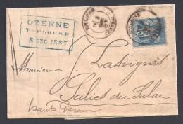 Haute Garonne - Cachet Type 18  TOULOUSE CENTRAL Sur Lettre  15 C Type Sage - 1877-1920: Semi-moderne Periode