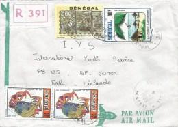 Senegal 1993 Guediwaye Crab Haiti Ship Beach Tourism Registered Cover - Senegal (1960-...)