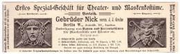 Original Werbung - 1891 - Theater- Und Maskenkostüme , Karneval - Masken , G. Nick In Berlin , Kostüme , Fasching !!! - Fasching & Karneval