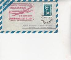LETTRE PREMIER VOL TRANSCONTINENTAL BUENOS AIRES -NEW YORK -18 AOUT 1958 - Argentina