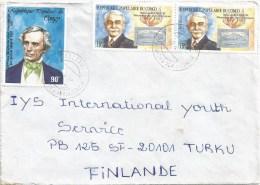 Congo 1989 Brazzaville Olympic Games Coubertin Stamp On Stamp Morse Telex Cover - Congo - Brazzaville