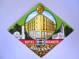 HOTEL PENSIONE ALBERGO BISANZIO RAVENNA ITALIA ITALY DECAL STICKER LUGGAGE LABEL ETIQUETTE AUFKLEBER - Adesivi Di Alberghi