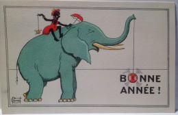 """CPA    Illustrateur Chenet Très Originale """"bonne Année"""" (C 954) / Jouet / Yoyo / éléphant - Illustrators & Photographers"""