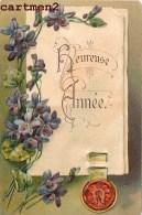 CARTE GAUFREE HEUREUSE-ANNEE BONNE-ANNEE NOUVEL-AN HAPPY NEW YEAR FELICE-ANNO FLEURS - Neujahr