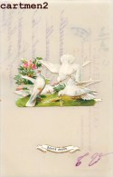 CARTE CELULLOÏD AJOUTIS COLOMBE HEUREUSE-ANNEE BONNE-ANNEE NOUVEL-AN HAPPY NEW YEAR FELICE-ANNO FLEURS ROSE - Neujahr