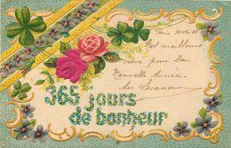 CARTE GAUFREE 365 JOURS DE BONHEUR HEUREUSE-ANNEE BONNE-ANNEE NOUVEL-AN + CACHET PARIS 58 RUE DOUDEAUVILLE MARCOPHILIE - Neujahr