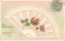 CARTE GAUFREE EVENTAIL FLEURS HEUREUSE-ANNEE BONNE-ANNEE NOUVEL-AN HAPPY NEW YEAR FELICE-ANNO - Neujahr