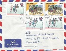 Rwanda 1990 Gisenyi Agriculture Education Olympic Games Seoul Athletics Running 10f Cover - 1990-99: Afgestempeld