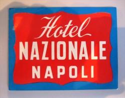 HOTEL PENSIONE ALBERGO NAZIONALE NAPLES NAPOLI ITALIA ITALY TAG DECAL STICKER LUGGAGE LABEL ETIQUETTE AUFKLEBER - Hotel Labels